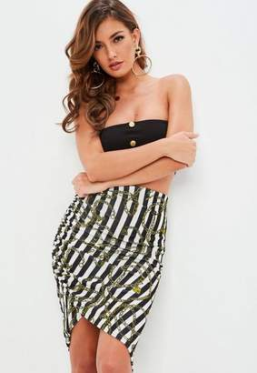 Missguided Black Striped Slinky Ruched Midi Skirt