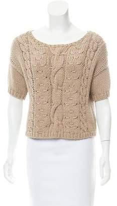 Brunello Cucinelli Monili-Trimmed Short Sleeve Sweater