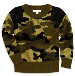 Burberry Little Boy's& Boy's Ribbed Wool Camouflage Sweater