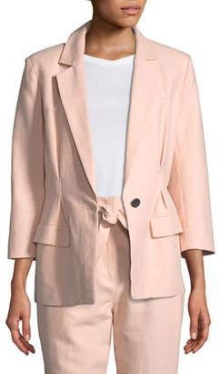 Joie Lian One-Button Cotton-Linen Blazer Jacket