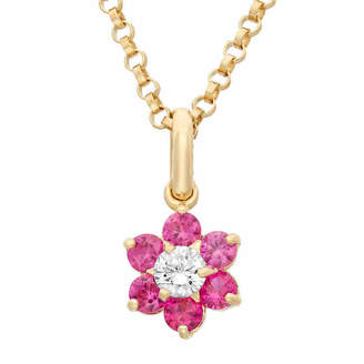 FINE JEWELRY Girls Lab Created Red Cubic Zirconia 14K Gold Flower Pendant Necklace