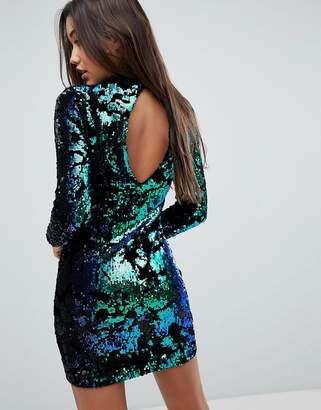Missguided Sequin And Velvet Cut-Out Back Bodycon Mini Dress
