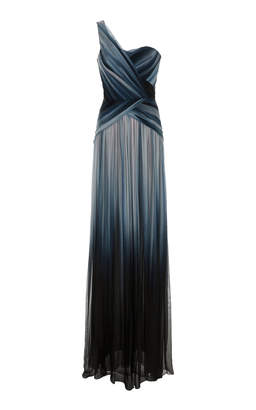 Pamella Roland Sapphire Multi Ombre One Shoulder Gown