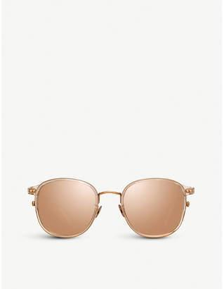Linda Farrow 803 C3 rose gold-plated titanium and acetate square sunglasses