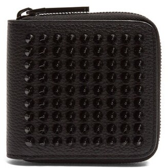 Christian Louboutin Panettone Spike Embellished Square Leather Wallet - Mens - Black