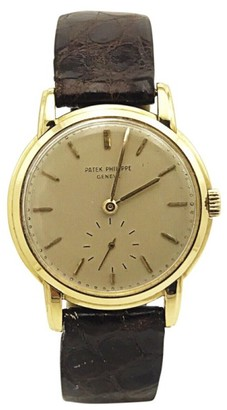 Patek Philippe 18K Yellow Gold & Leather Manual Vintage 32.5mm Mens Watch $5,500 thestylecure.com