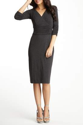 NUE by Shani Surplice Ruched Knit Dress