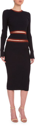 Victoria Beckham Round-Neck Cutout-Front Ribbed Dress, Navy $1,910 thestylecure.com