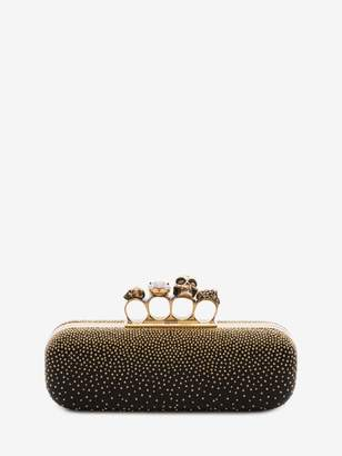 Alexander McQueen Studded four-ring clutch