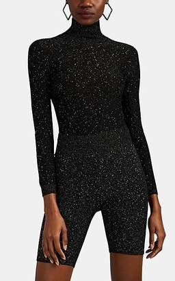 Area Women's Sequined Silk-Blend Open-Back Bodysuit - Black