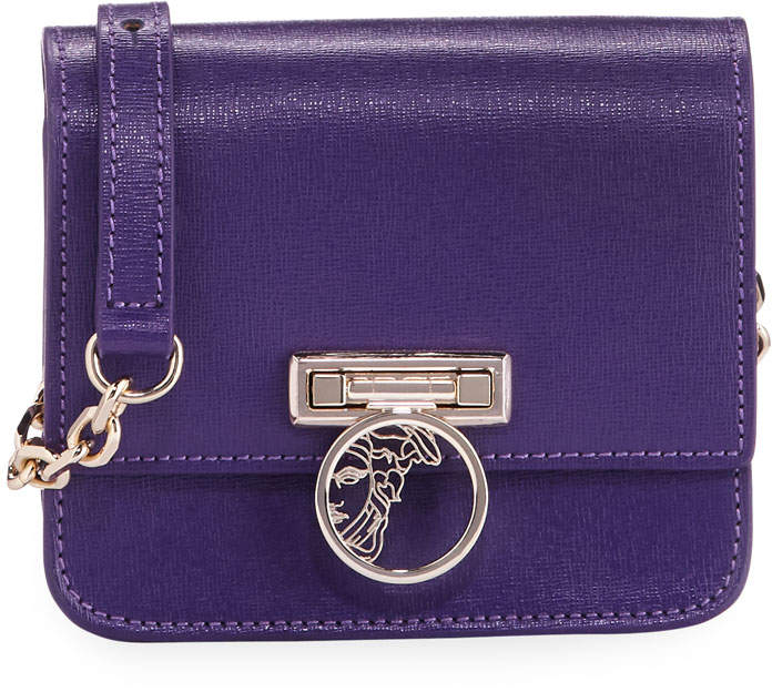 Versace Collection Saffiano Leather Small Crossbody Bag, Violet