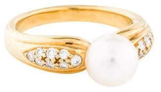 Mikimoto 18K Pearl & Diamond Ring