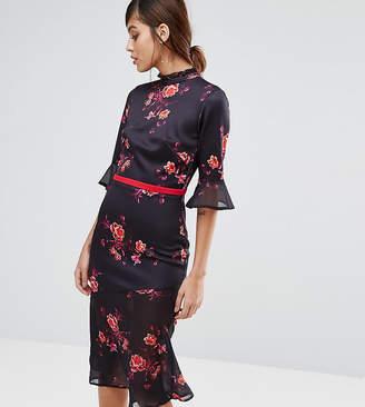 True Violet High Neck Midi Tea Dress With Asymmetric Frill Hem