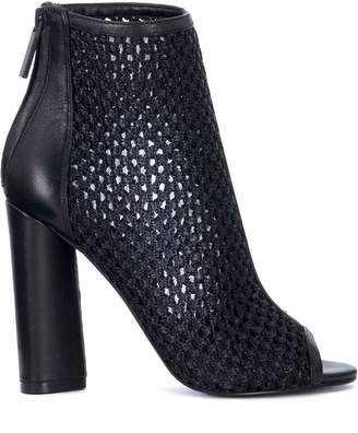 KENDALL + KYLIE Kendall+kylie Galla Black Leather And Fabric Open Toe Ankle Boot