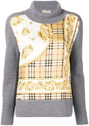 Burberry Archive Scarf Print Panel Wool Turtleneck Sweater