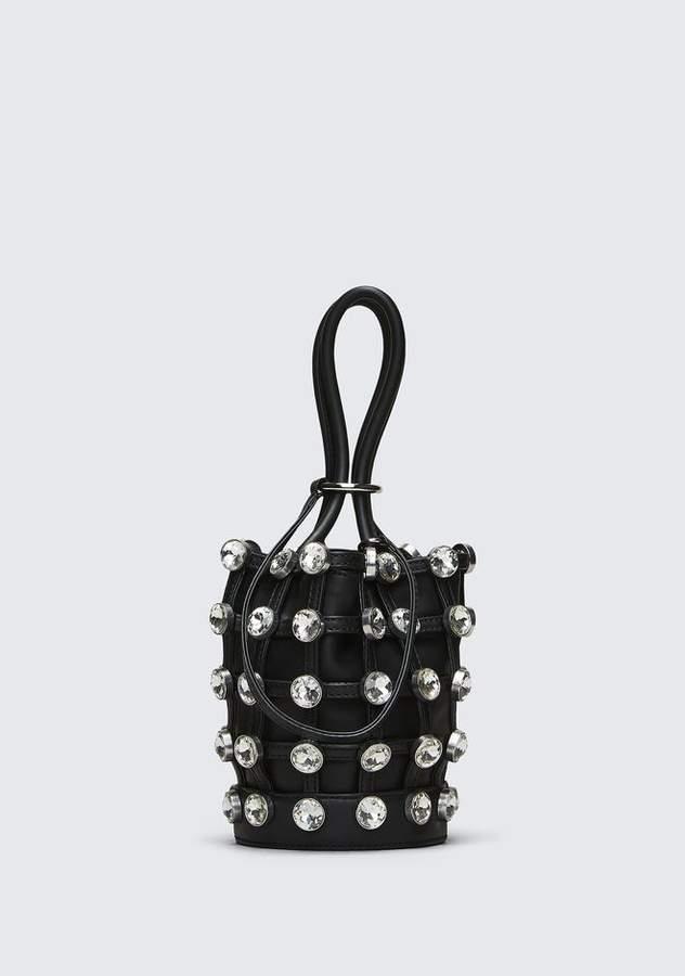Alexander Wang ROXY MINI BUCKET BAG IN BLACK WITH GLASS STONES CLUTCH