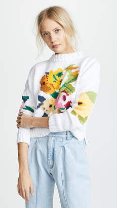 Smythe Floral Intarsia Crew Sweater