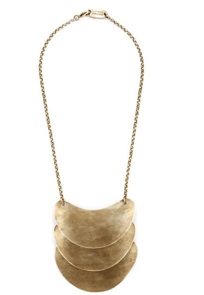 Elizabeth and James Triple Pendant Necklace, Brass