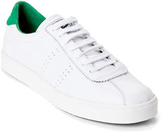 Superga White & Green 2843 Leather Low-Top Sneakers