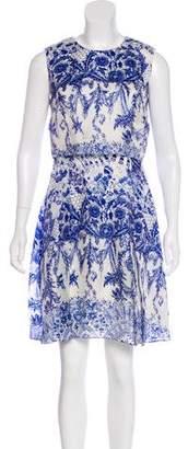Marchesa Printed Silk Dress