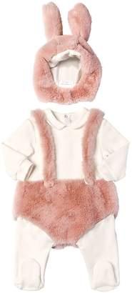 Il Gufo Bunny Plush & Sweatshirt Romper W/ Hood