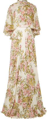 Cape-effect Floral-print Silk-georgette Gown - Ivory