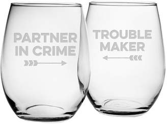 Susquehanna Glass Set Of 2 Partners In Crime Stemless Wine Glasses