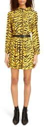Saint Laurent Zebra Stripe Long Sleeve Dress