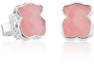 Tous Sterling Silver and Rose Quartz Bear Stud Earrings