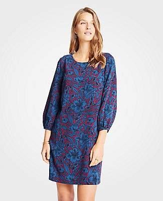 Ann Taylor Mystical Garden Lantern Sleeve Shift Dress