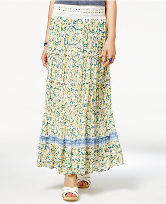 American Rag Printed Crochet-Trim Maxi Skirt, Only at Macy's $49.50 thestylecure.com