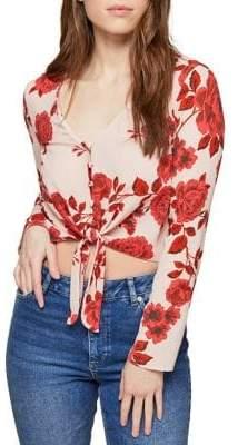 Miss Selfridge Front Print Tie Crop Top
