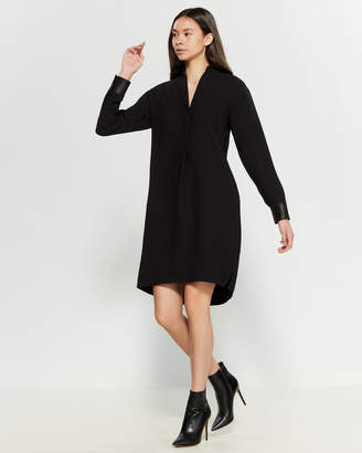 Vince Faux Leather Cuff Shirtdress