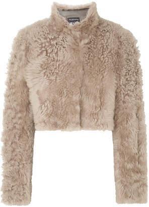 Ann Demeulemeester Cropped Shearling Jacket - Beige