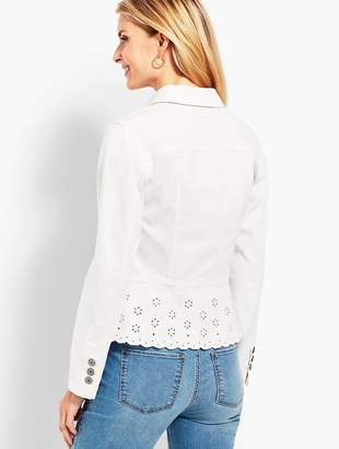 Talbots Peplum White Denim Jacket