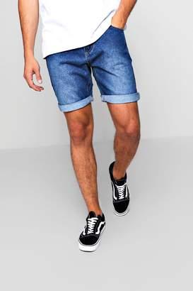boohoo Slim Fit Mid Blue Denim Short