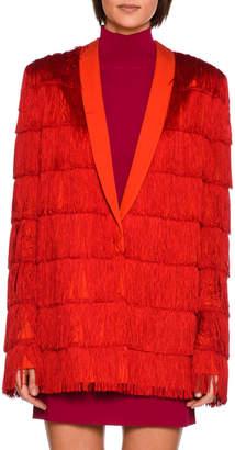 Stella McCartney Tia Tiered Fringe Men's Blazer, Bright Red