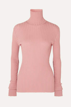 Victoria Beckham Ribbed Stretch Cotton-blend Turtleneck Sweater - Pink