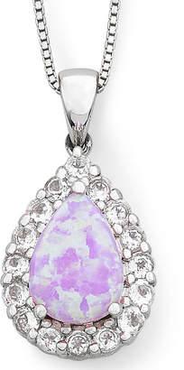 FINE JEWELRY Lab-Created Pink Opal & White Sapphire Teardrop Pendant Necklace