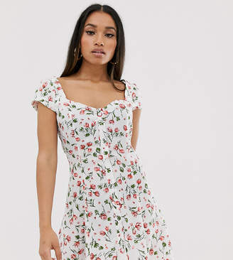 e0ee34670b2a68 PrettyLittleThing Petite Petite tea dress with button front in white ditsy  floral
