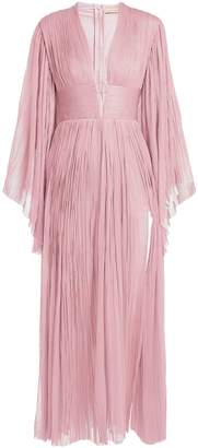 Maria Lucia Hohan Thais deep V-neck pleated silk-tulle gown