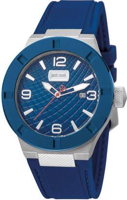 Just Cavalli 43mm Rock Watch w/ Rubber Strap, Blue/Silvertone