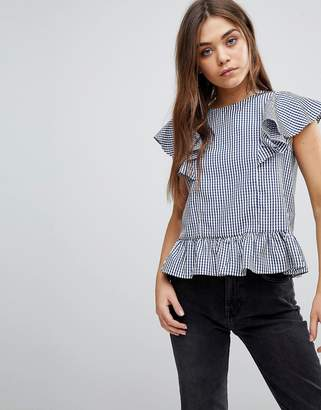 Brave Soul Heidi Gingham Top wih Frill Detail