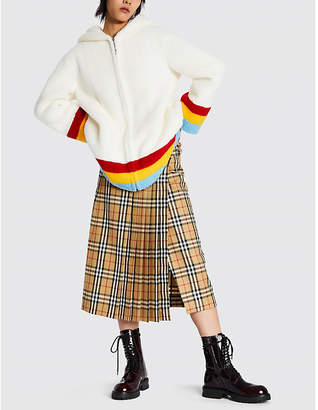 Burberry Craven rainbow striped faux-shearling jacket
