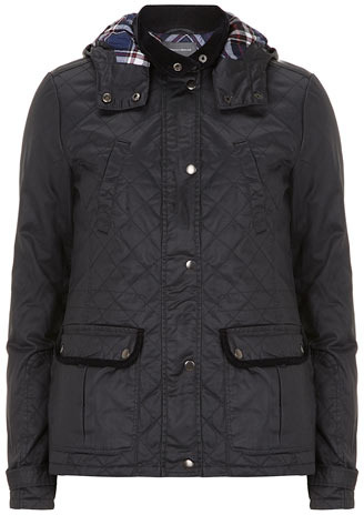 Dorothy Perkins Tall navy waxed look hooded jacket