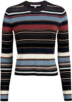 Veronica Beard Palmas Lurex-Striped Sweater