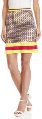 Moschino Lurex Geo Print Flounce Bodycon Knit Skirt