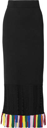 STAUD - Garage Cutout Fringed Stretch-knit Midi Skirt - Black