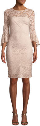 Marina Bell-Sleeve Lace Sheath Dress