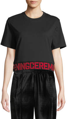 Opening Ceremony OC Elastic-Logo Crewneck Short-Sleeve Cotton Tee